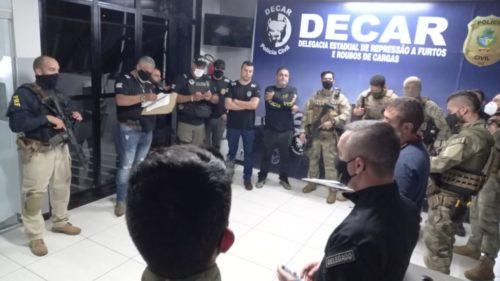 Polícias civis de GO e MG fazem operação contra ladrões de cargas de bebidas
