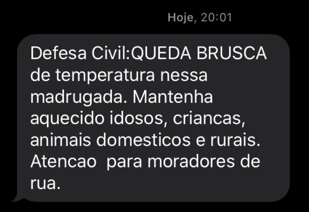 Cassilândia: Defesa Civil alerta para queda brusca da temperatura nesta madrugada