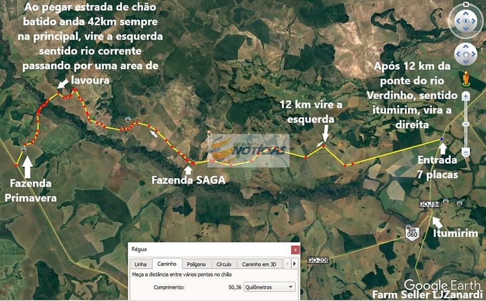 Com interdição da ponte na GO184, Prefeitura de Serranópolis divulga mapa para desvio