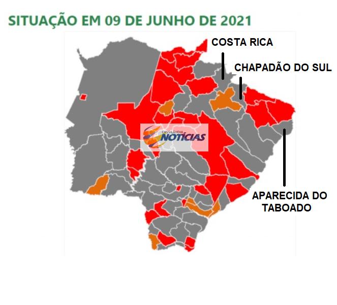 Capital, Costa Rica, Chapadão do Sul e Aparecida ganham bandeira cinza e terão de fechar
