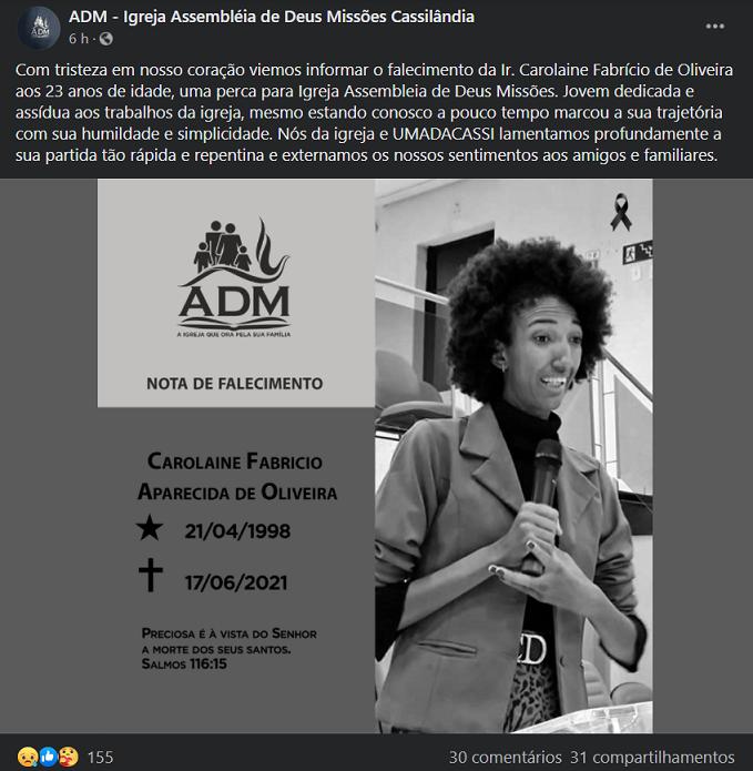 Cassilândia: morre, aos 23 anos, a jovem Carolaine Fabricio Aparecida de Oliveira