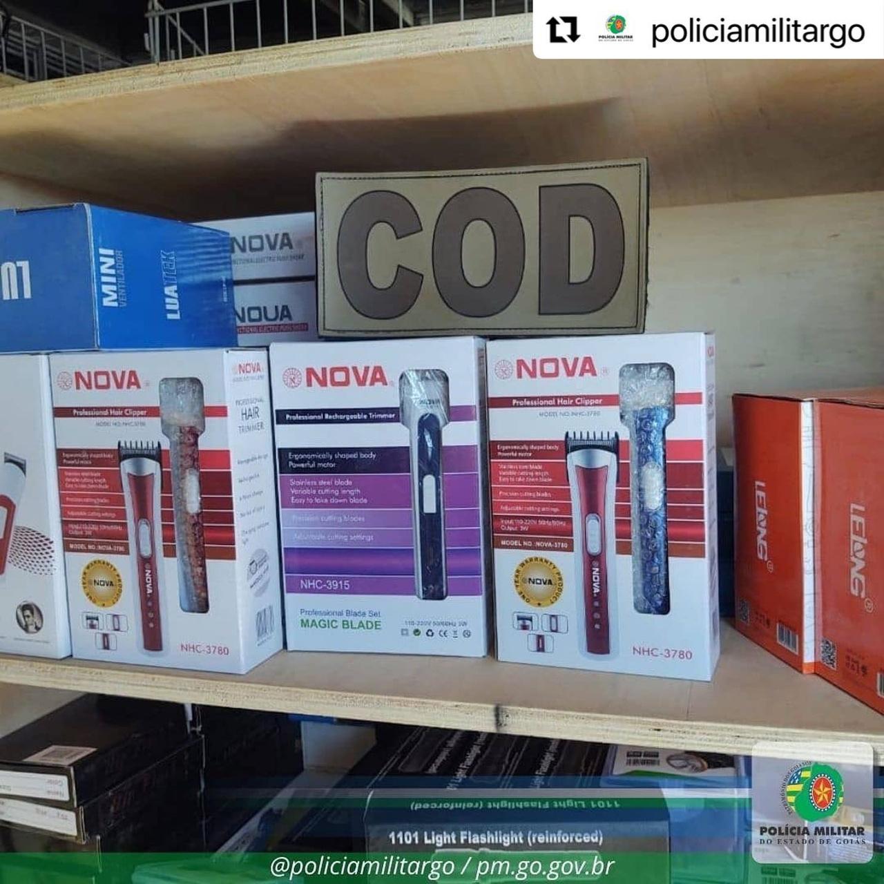 Goiás: PM e PRF apreende mais de R$ 70 mil em mercadorias ilegais