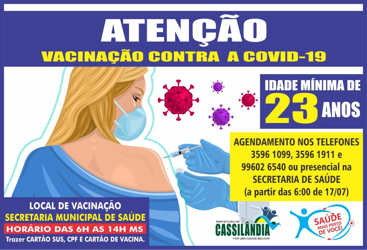 Cassilândia: diminuiu a faixa etária para a vacinação contra a Covid-19