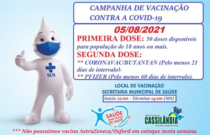 Cassilândia: Saúde aplica 1ª e 2ª dose da vacina contra a Covid-19 nesta quinta
