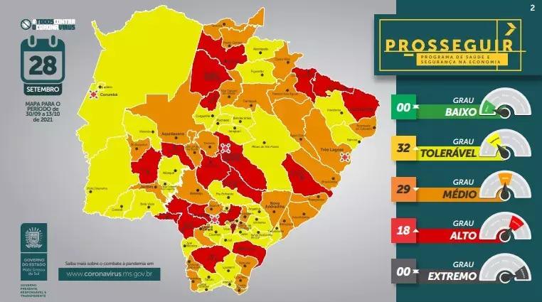 """Cassilândia regride para a bandeira vermelha e 32 municípios têm grau """"tolerável"""" da covid"""
