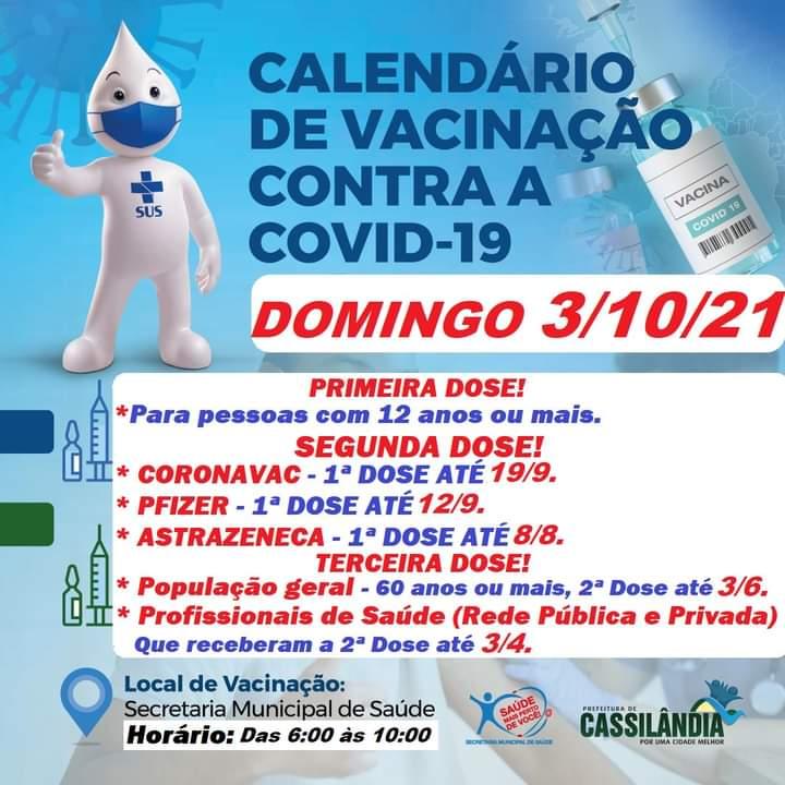 Cassilândia: hoje tem vacinação contra a Covid-19 até as 10h00; confira