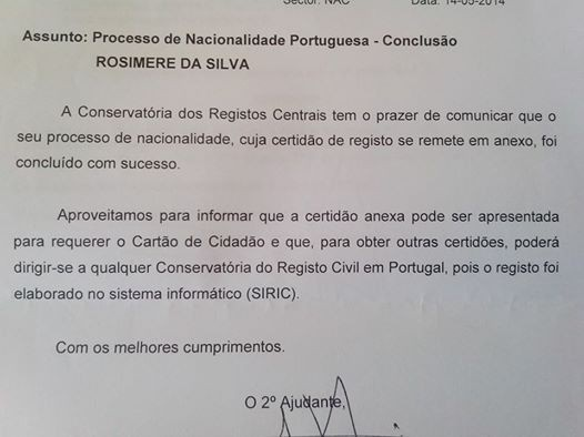 O documento oficial do governo português