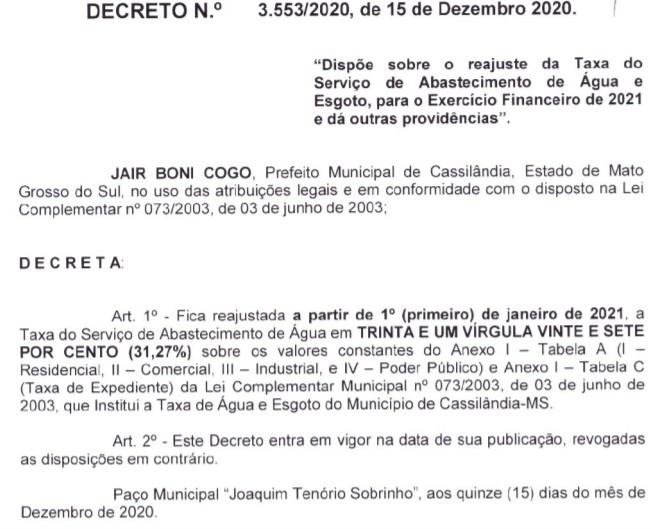 Cassilândia: Prefeito Jair decreta aumento de 31,27% na taxa do serviço de água