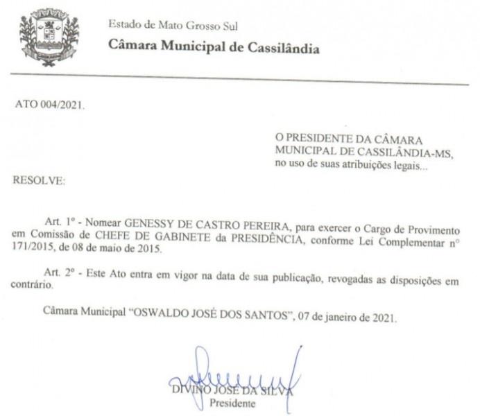 Genessy de Castro Pereira, conhecido como Cici Castro, é o novo Chefe de Gabiente da Presidência da Câmara Municipal de Cassilândia.